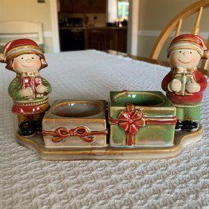 Yankee Candle Tealight Holder (2) Santa Boy & Girl
